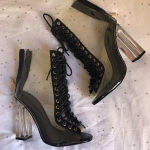 Clear Peep Toe Lace-Up Heel